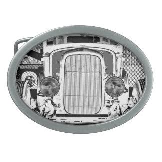 Negativa blanco y negro de la parrilla de Rod de c Hebillas De Cinturón