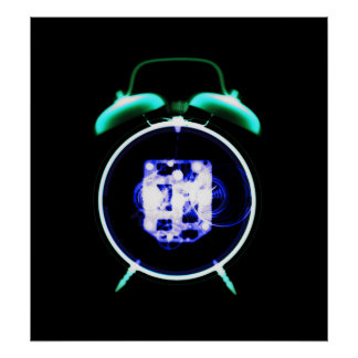 Negativa original del reloj pasado de moda de la r póster