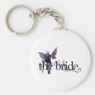 Negativa púrpura de hadas del vestido blanco - la  llavero redondo tipo pin