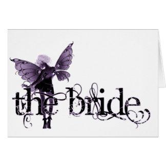 Negativa púrpura de hadas del vestido blanco - la  tarjeta