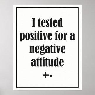 Negative Attitude  Fun Quote Poster