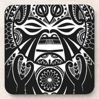 negative black tiki face mask design tatau koru drink coaster