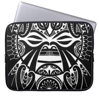 negative black tiki face mask design tatau koru laptop sleeve