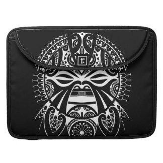 negative black tiki face mask design tatau koru sleeves for MacBooks