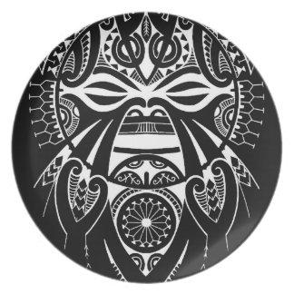 negative black tiki face mask design tatau koru party plates