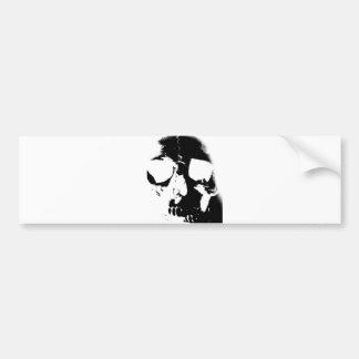 Negative Black & White Skull Bumper Sticker