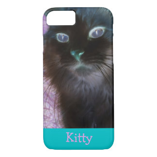 Negative Kitty in Teal and Pink iPhone 7 Case