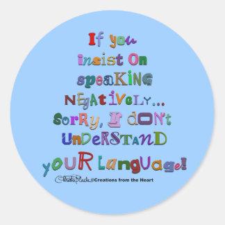 Negative Language Classic Round Sticker