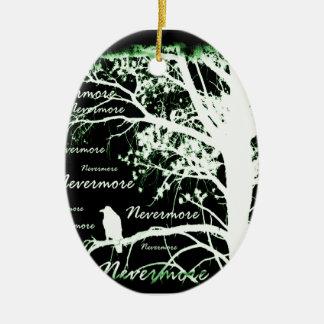 Negative Night Vision Nevermore Raven Silhouette Ceramic Ornament