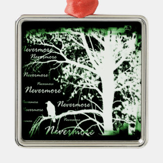 Negative Night Vision Nevermore Raven Silhouette Metal Ornament