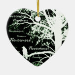 Negative Night Vision Nevermore Raven Silhouette Christmas Tree Ornament