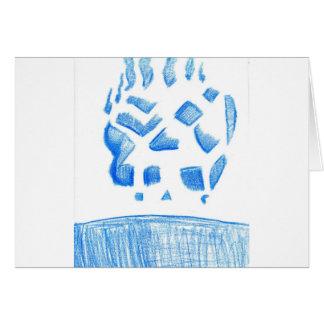 Negative Skull Sketch In Blue Card