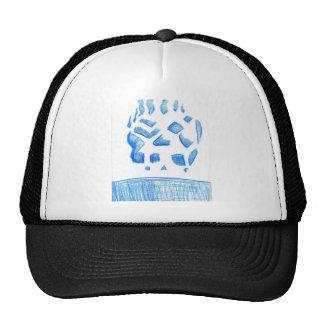 Negative Skull Sketch In Blue Trucker Hat