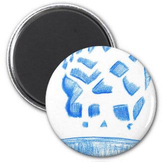 Negative Skull Sketch In Blue Magnet