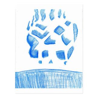 Negative Skull Sketch In Blue Postcard