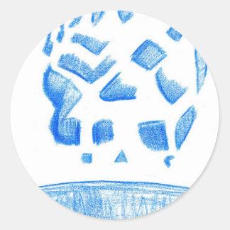 Negative Skull Sketch In Blue Round Sticker