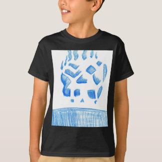 Negative Skull Sketch In Blue T-Shirt