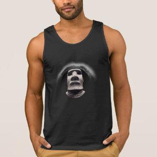 Negativized Fading Black Sun Corona Tiki Moai Logo Tank Top