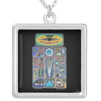 Negatory Good Buddy Robot Currency Shield Square Pendant Necklace