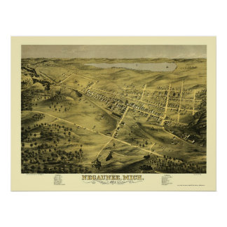 Negaunee, mapa panorámico del MI - 1871 Posters