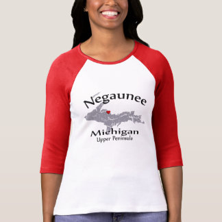 Negaunee Michigan Heart Map Design Raglan T-Shirt
