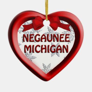 Negaunee Michigan Snowflakes Heart Ornament