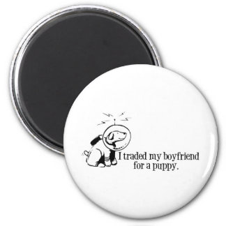 Negocié a mi novio para un perro retro del espacio iman de nevera