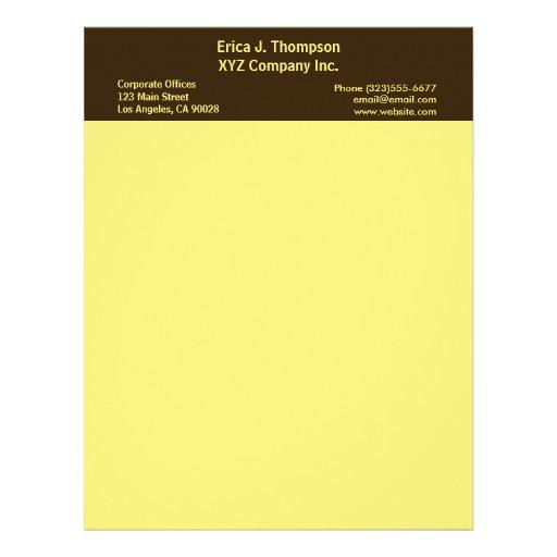negocio amarillo de la frontera membrete a diseño