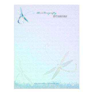 Negocio azul del diseño interior de la libélula membrete a diseño
