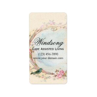 Negocio color de rosa del vintage y del petirrojo etiqueta de dirección