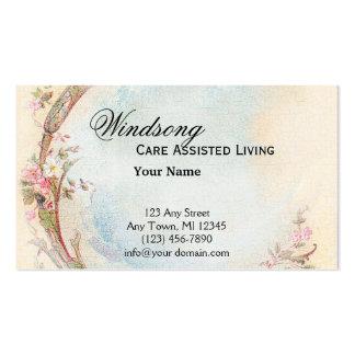 Negocio color de rosa del vintage y del petirrojo tarjetas de visita