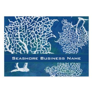Negocio coralino del agua de la costa del océano m plantilla de tarjeta de visita