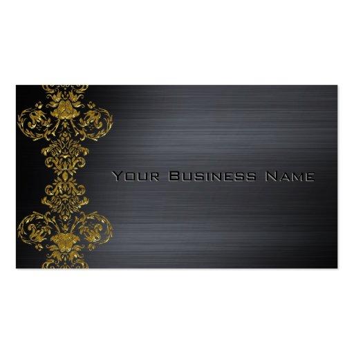 Negocio corporativo del damasco metálico negro del tarjeta personal
