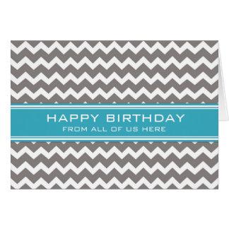 Negocio de Chevron del gris azul del cumpleaños Tarjeta De Felicitación