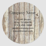 negocio de construcción de madera del grano del pegatina redonda