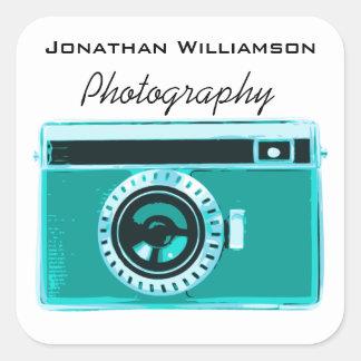 Negocio de la fotografía de la cámara de la pegatina cuadrada