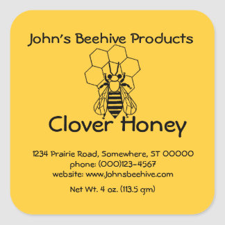 Negocio de la miel del pegatina (lg sq) - - abeja