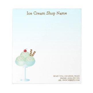 Negocio de la tienda de helado del helado del bloc de papel