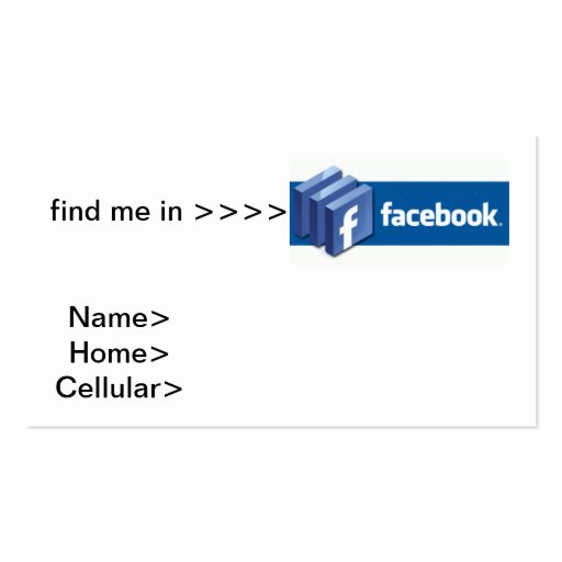 negocio del facebook tarjetas de visita