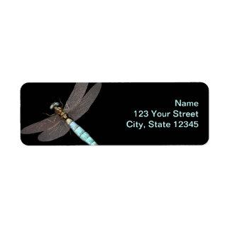 Negocio del monograma de la libélula etiqueta de remite