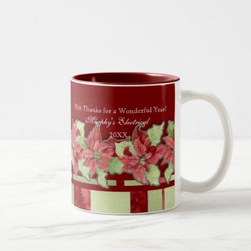 Negocio del Poinsettia de las Felices Navidad pers Taza De Café