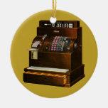 Negocio del vintage, caja registradora al por adorno navideño redondo de cerámica