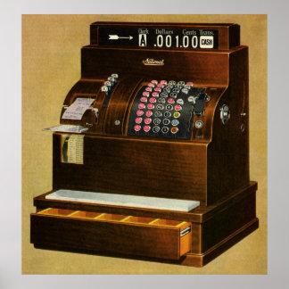 Negocio del vintage, caja registradora al por póster