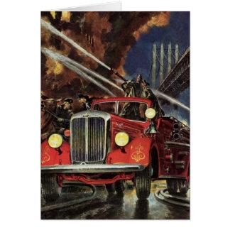 Negocio del vintage, coches de bomberos de los bom felicitacion