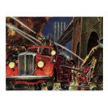 Negocio del vintage, coches de bomberos de los bom tarjetas postales
