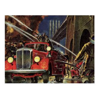 Negocio del vintage coches de bomberos de los bom tarjetas postales