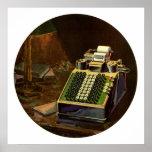 Negocio del vintage, contable, máquina contable impresiones