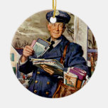 Negocio del vintage, correo del cartero que ornamento para arbol de navidad
