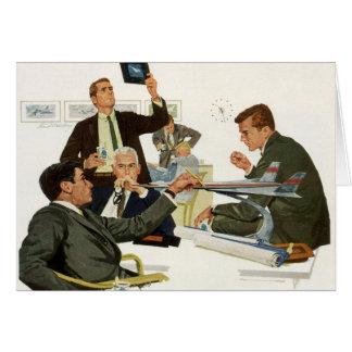 Negocio del vintage, ejecutivos de la línea aérea tarjeta de felicitación