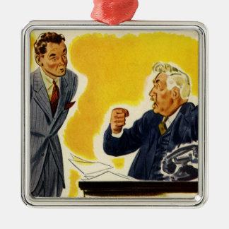 Negocio del vintage, empleado ejecutivo enojado adorno navideño cuadrado de metal